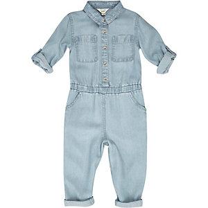 Mini girls blue denim jumpsuit