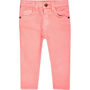 Mini girls light coral skinny jeans