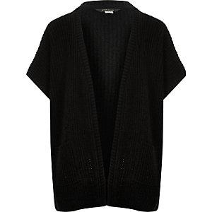 Girls black knitted cardigan