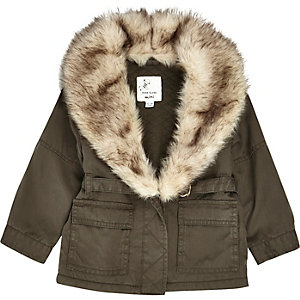 Mini girls khaki faux fur parka jacket