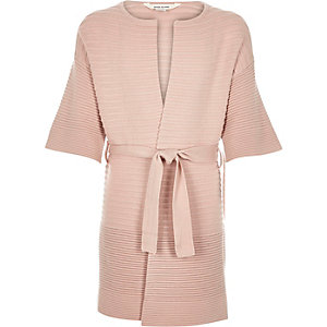 Girls light pink belted cardigan