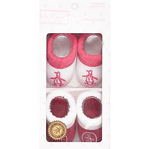 Mini girls pink Penguin booties set