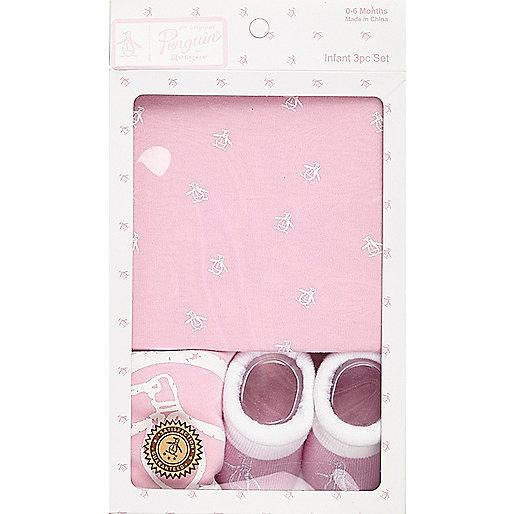 Coffret cadeau motif pingouin rose clair mini fille