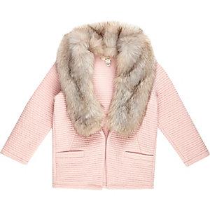 Mini girls pink textured blazer