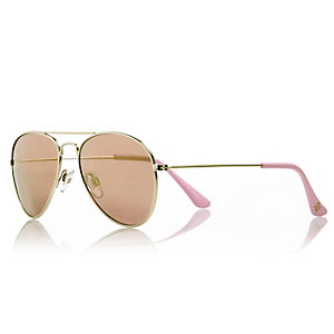 Girls rose gold aviator-style sunglasses