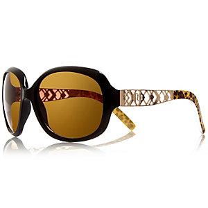 Girls black glam oversized leopard sunglasses