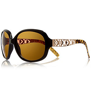 Girls black oversized leopard sunglasses
