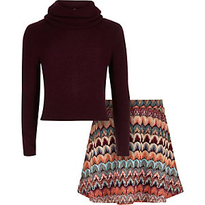 Girls purple roll neck skirt outfit