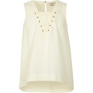 Girls cream lace-up top
