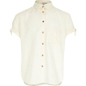 Girls cream military shirt