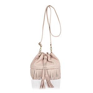 Girls cream tassel duffel handbag