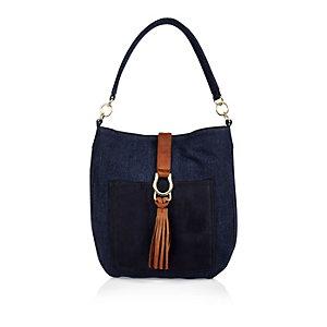 Girls blue denim slouchy handbag