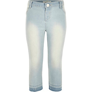 Girls blue raw hem cropped jeggings
