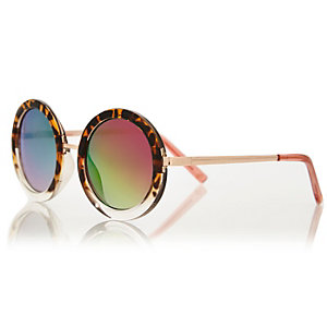 Girls brown tortoise shell round sunglasses