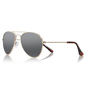 Girls silver tone aviator-style sunglasses
