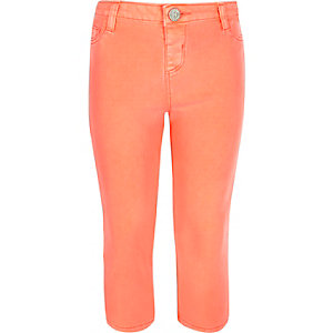 Girls coral orange cropped jeggings