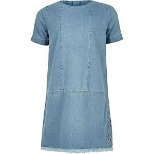 Girls denim raw hem shift dress