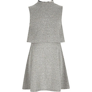 Girls grey double layer dress