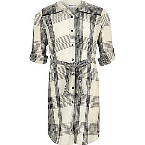 Girls white check belted shirt dress