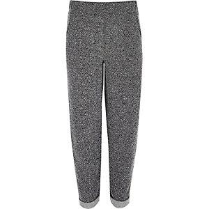 Girls grey herringbone tapered trousers