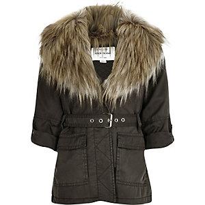 Girls khaki belted faux fur parka jacket