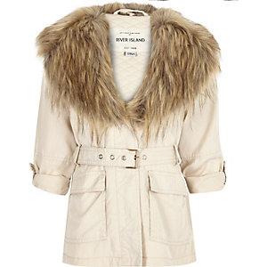 Girls beige belted faux fur jacket