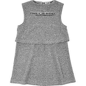 Mini girls grey dreams print shift dress