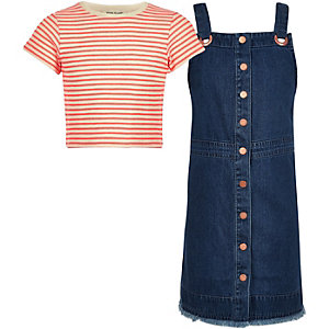 Girls stripe top and denim pinafore outfit