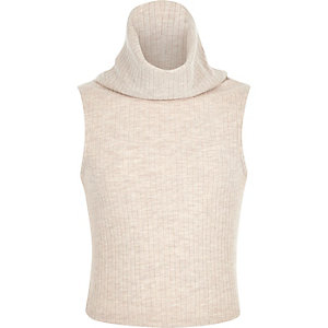 Girls beige rib cowl neck knitted top