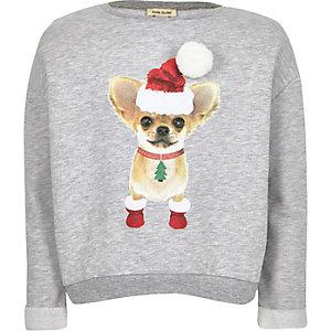 Girls grey chihuahua print Christmas sweater