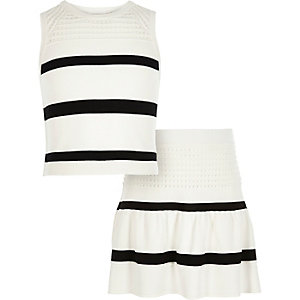 Girls white stripe top skirt co-ord outfit