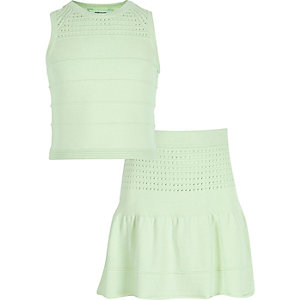 Girls green knitted top skirt co-ord outfit