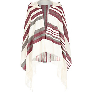 Girls red striped hooded cape