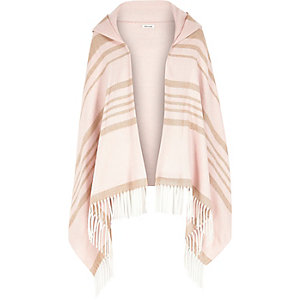 Girls pink hooded scarf cape