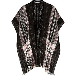 Girls pink check cape