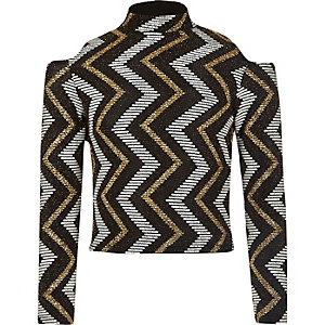 Girls black zig zag glitter cold shoulder top