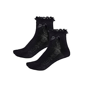 Girls black frilly socks pack