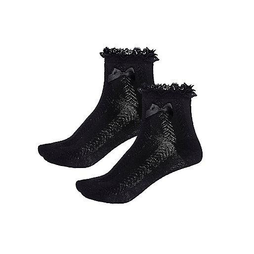 Girls black frilly socks multipack