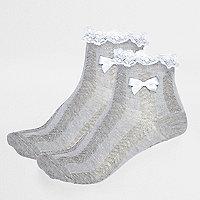 Lot de chaussettes grises à volants pour fille