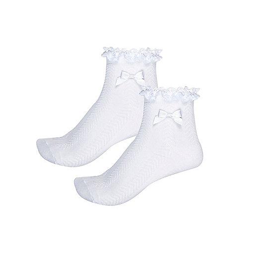 Girls white frilly socks multipack