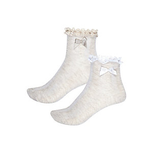 Girls beige frilly socks multipack