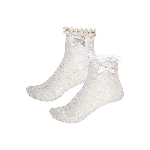 Girls beige frilly socks multipack