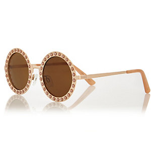 Girls pink pearl round sunglasses