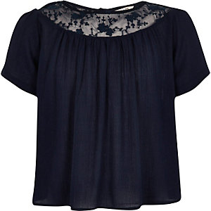 Girls navy embroidered smock top