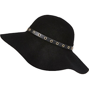 Girls black felt eyelet floppy hat