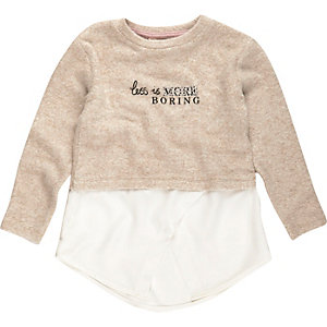 Mini girls cream less is boring jumper