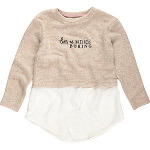 Mini girls cream less is boring sweater