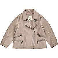 Mini girls grey leather look biker jacket