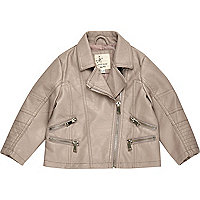 Mini girls grey leather look biker jacket