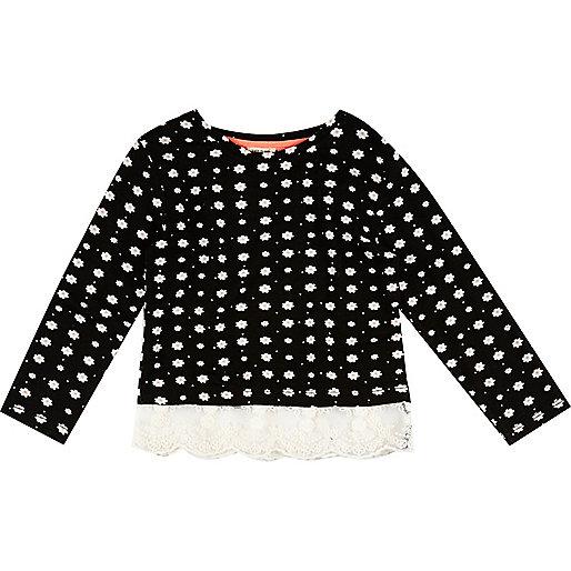 T-shirt à imprimé marguerites noir pour mini fille